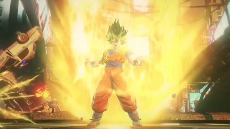 Goku going super saiyan in Jump Force