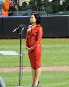 Demi Lovato Performing the National Anthem Before Game 4 of 2015 World Series (1)