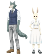 Artwork of characters Legosi and Haru