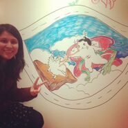 Draing on a wall at work with dry erase markers - By Natahsa
