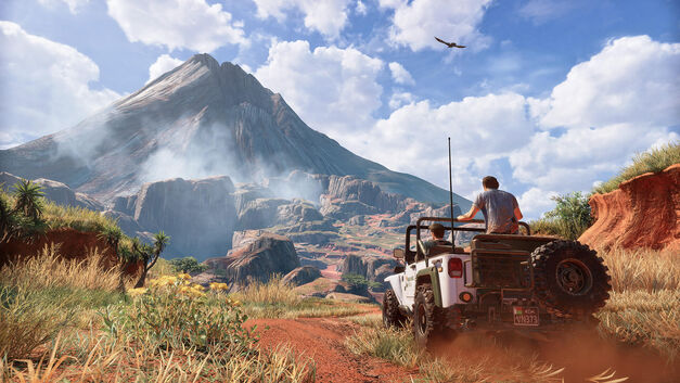 uncharted 4 video game sequel driving in jeep through desert