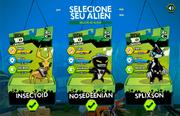 Interface de seleção de aliens em Campeões Galácticos