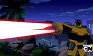 Robot Techadon lanzando laser de sus dedos