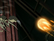 Insecto del doctor animo esquivando el ataque de fuego