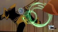 Lodestar atacando con magnetismo a Tecno-Espada