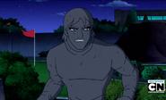 Kevin con roca absorvido enojado