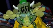 Toepick abriendo su mascara
