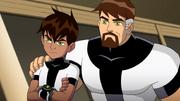 Ken ao lado de seu pai em Ken 10