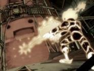 Fuego disparandole a la bomba de adn del doctor animo durante flashback