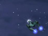 Nave de tetrax pasando por el cielo