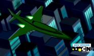 Jet de Kevin sobrevolando la ciudad