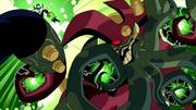 Atomico X atacando Vilgax