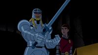 Sir George con su espada al frente con Winston