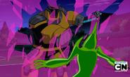 Robot Techadon amarillo destruyendo el escudo de Gwen!