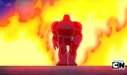 Robot Techadon gris saliendo de la exploción