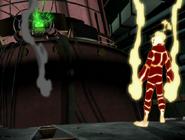 Fuego viendo la bomba de adn del doctor animo