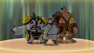 Bala de Canhão, Gwen e Ishiyama subindo o dojo