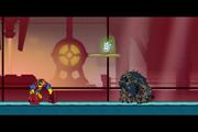 Tela de confronto entre Bloxx e Enormossauro Supremo