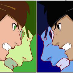 Imagen vercion anime de Ben vs Eddy (ya se q se me olivido la barba ._.)