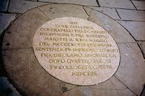 Tablica upamiętniająca egzekucję Savonaroli na Piazza Della Signoria we Florencji