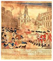 Masakra Bostońśka, 1770 rok, rycina, propaganda antyangielska
