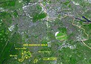 Freie Universität Berlin Luftbildfoto mit markiertem Campus 01-2005