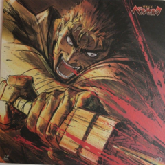Promotional art of Guts angrily cleaving through an unseen enemy for the 1997 anime.