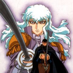 Promotional poster of Guts and Griffith ready to duel one another for the 1997 anime.