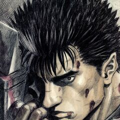Guts holding the Dragon Slayer.
