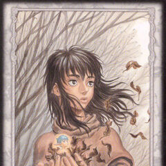 A regressed Casca holds Puck. (Secret card 14)
