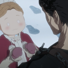 Guts being asked by Erica to stay with her.