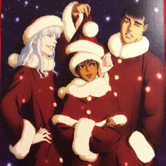 A Christmas card released to promote the film trilogy featuring Guts, Griffith, and Casca wearing Santa outfits.