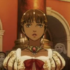 Casca wearing a ball gown to the <a href=