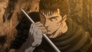 Guts grabs Serpico's sword