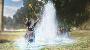 Schierke ataca a trolls con agua (Berserk Musou)