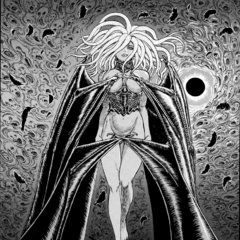 Slan stands tall, partially covered by her wings, during the Eclipse.