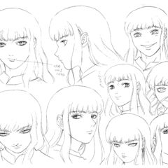 Clean profile drawings of a young Griffith showing various expressions for the 1997 anime.