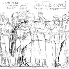 A height comparison of an older Guts alongside the other older members of the Band of the Falcon and Charlotte, with a horse present to illustrate their size, for the 1997 anime.