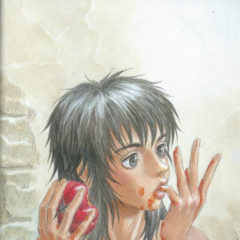 Casca messily eats a red pepper.