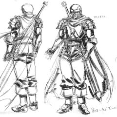 Front and back view sketches of a fully armored Guts, now a member of the Band of the Falcon, for the 1997 anime.
