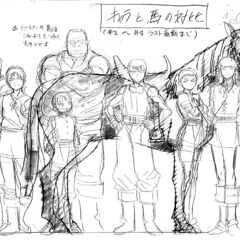 A height comparison of a young Guts alongside the other youthful members of the <a href=