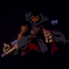 Guts is wounded during his travels as the Black Swordsman.