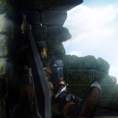 A promotional image of Guts sleeping for the 2016 anime.