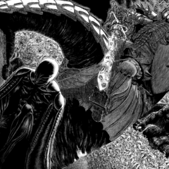 Skull Knight attempts to kill Femto.