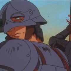 Corkus horrified on the battlefield.