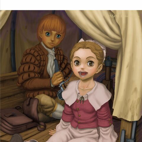 A smiling Erica rides in a cart with Rickert.