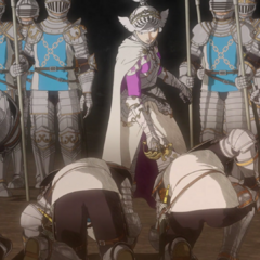 Farnese berates her knights for retreating.