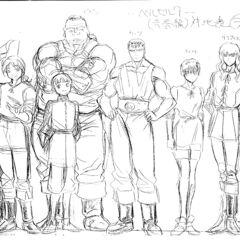 A height comparison between an older Guts, Griffith, Casca, Judeau, Pippin, Corkus, Rickert and <a href=