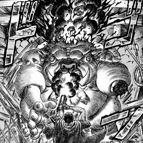 Guts fires his cannon into the Keeper's face.
