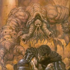 Guts on the ground fighting against an apostle.
